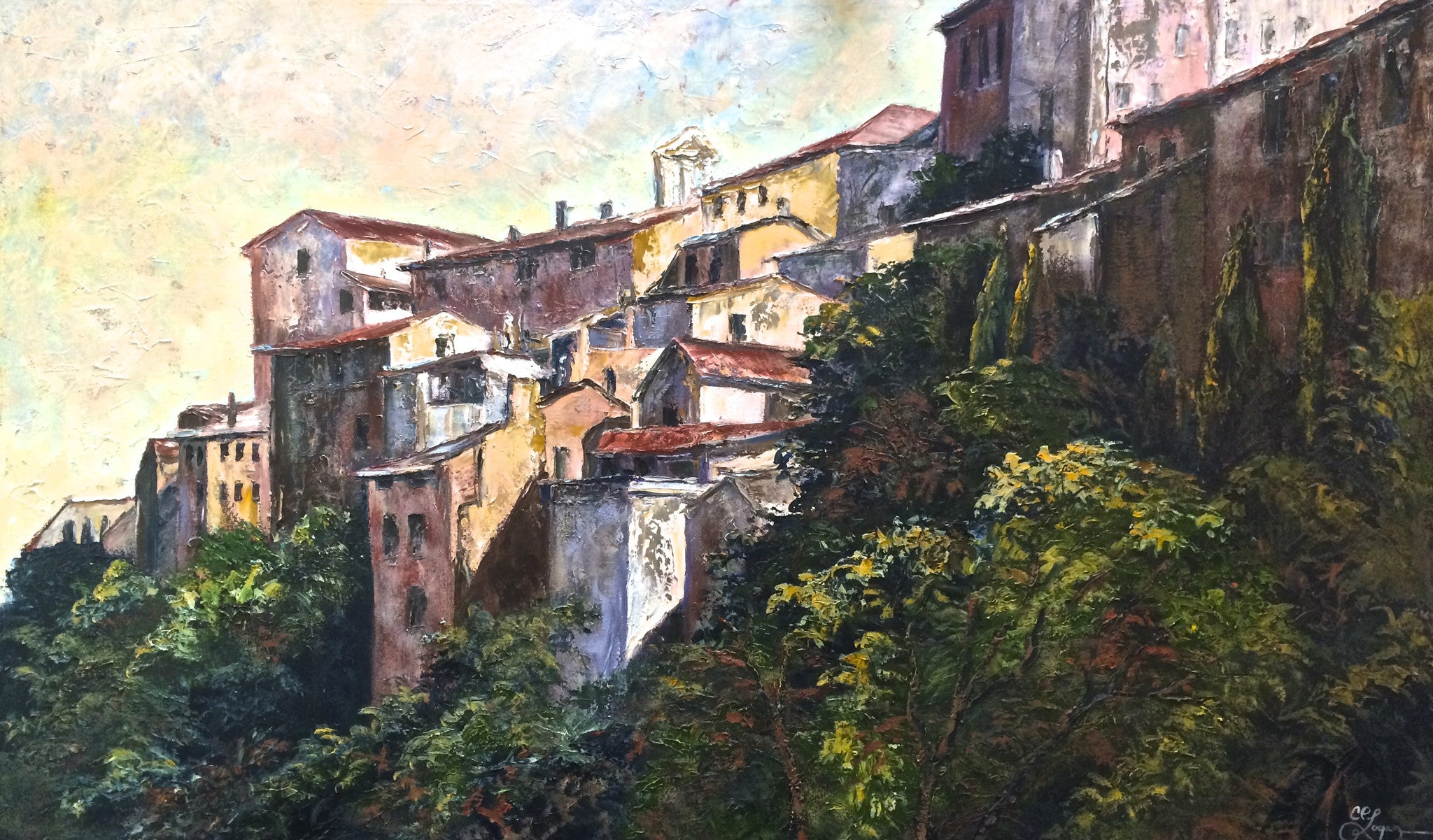 Umbrian Hill Town - 36 x 60 SOLD