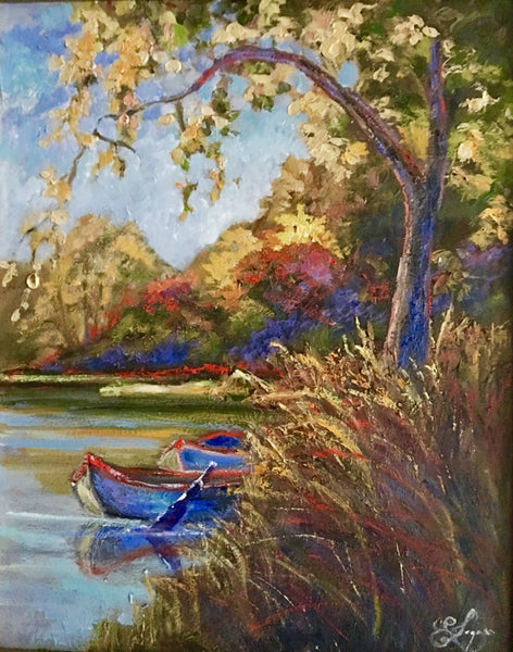 Boats On The Pond  $450.  16x20""