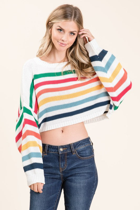 Over The Rainbow Crop Sweater