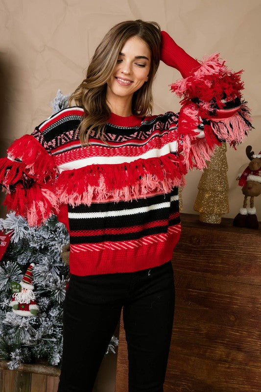 Fringe Sweater - Red