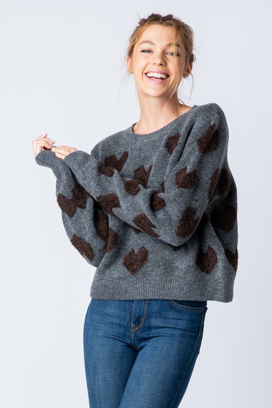 Fuzzy Heart Sweater - Grey
