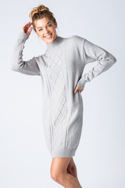 Mock Cable Sweater Dress - Grey