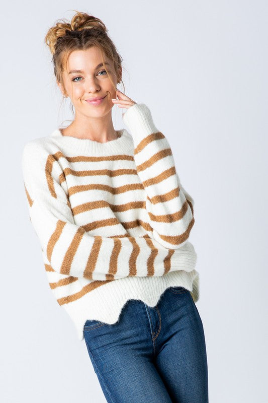 Settled Stripe Sweater - Taupe