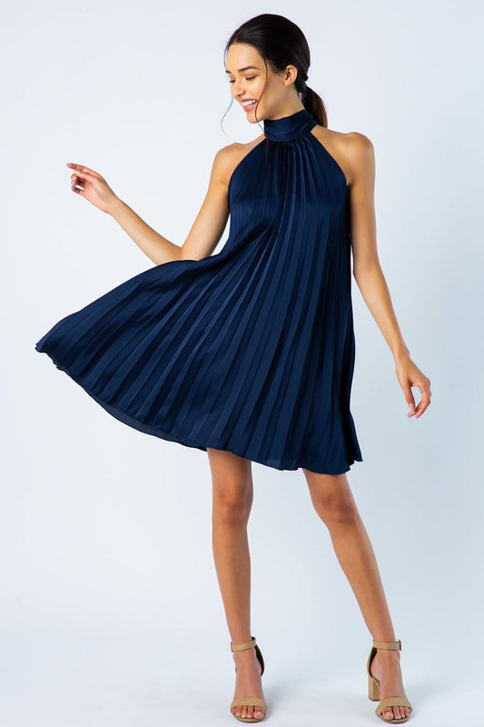 Pleated Mini Dress - Navy
