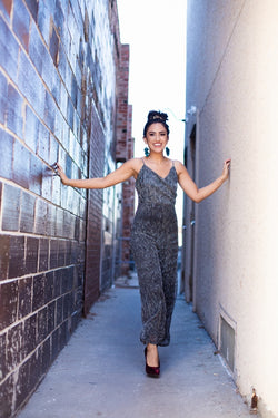 Metallic Plisse Jumpsuit