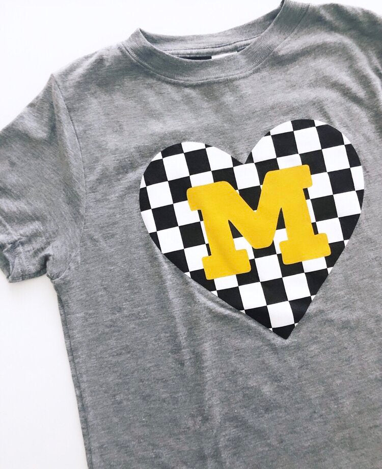 M-Black & Gold Heart Tee