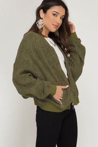 Brushed Bomber Jacket - Olive - Anchora Bella Boutique
