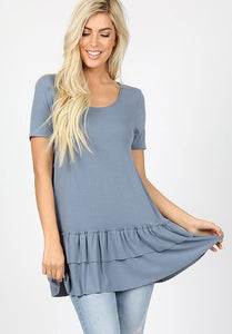 Double Ruffle Basic Top - Grey