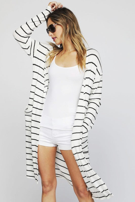 Stripe Thermal Cardigan