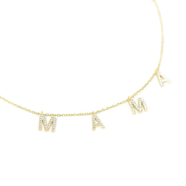 MAMA Crystal Necklace- Gold