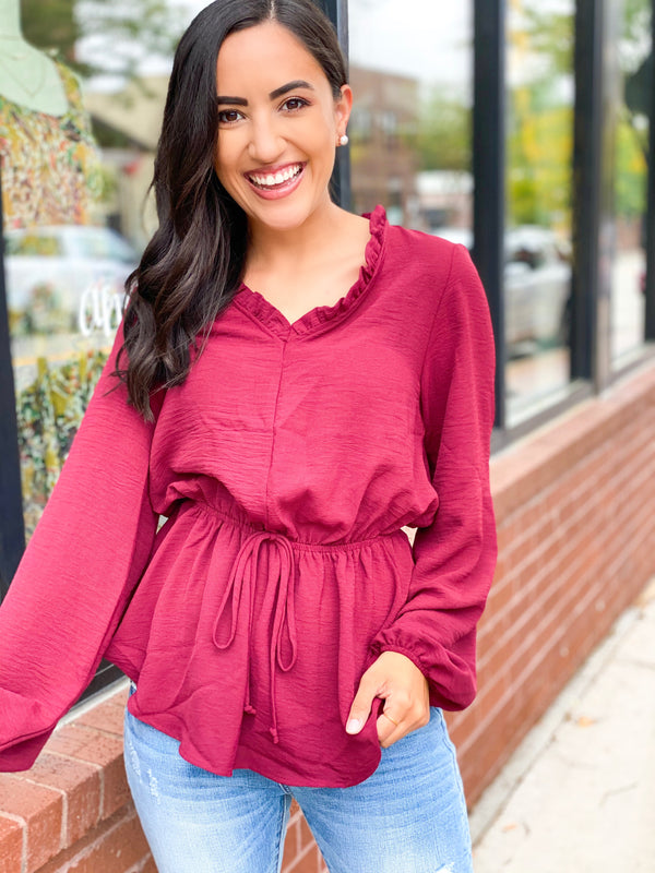 The Stunner Blouse- Wine