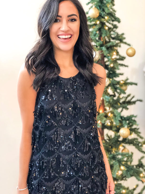 Diamond Sequin Dress - Black