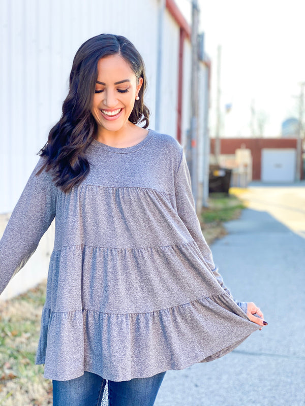 Tiered Scoop Top - Grey