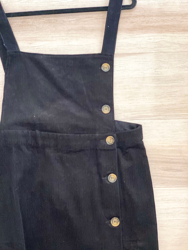 Corduroy Overall Dress - Black