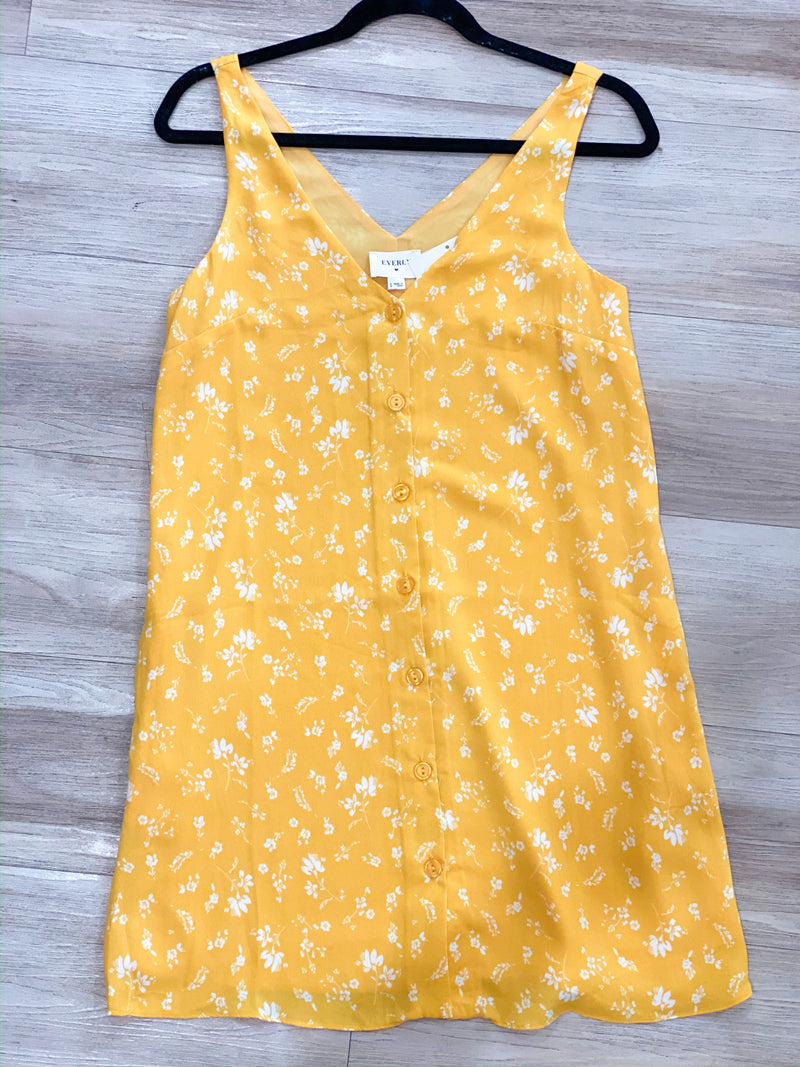 Sunshine Button Dress - Yellow