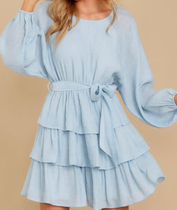 Bauble Bow Tiered Dress - Blue