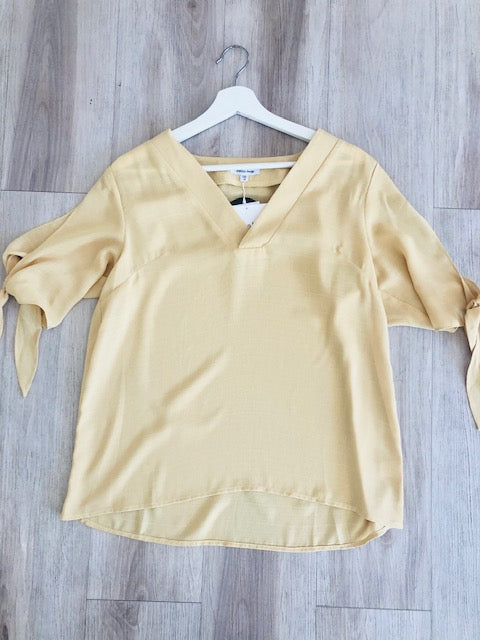 V-Neck Tie Top - Yellow
