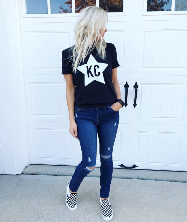 KC Distressed Star- Black