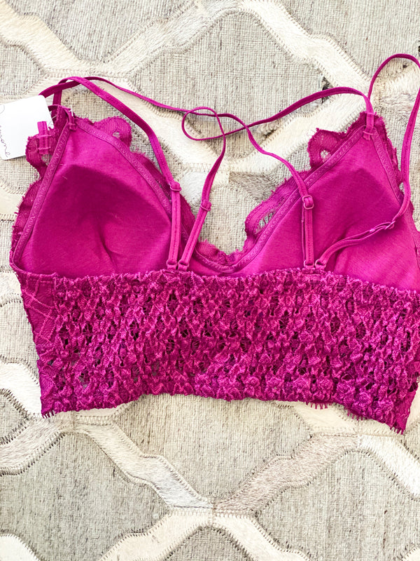 Lace Bralette- Magenta