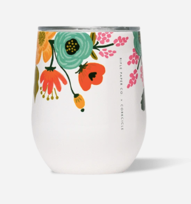 12oz Stemless- Cream Lively Floral