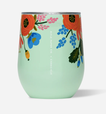 12oz Stemless- Mint Lively Floral