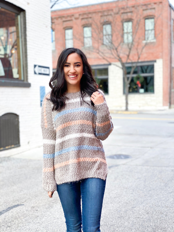 Striped Mohair Sweater - Peach