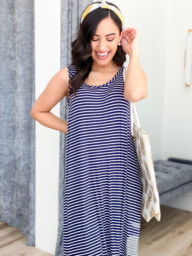 Twisted Striped Dress- NAVY/IVORY
