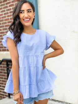 Blue Skies Babydoll Top