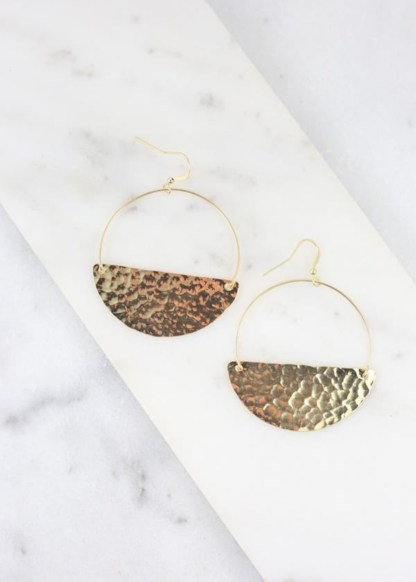 Charly Round Hammer Metal Hook Earring