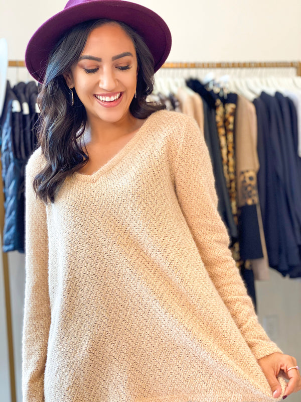 Comfort Sweater Top - Taupe
