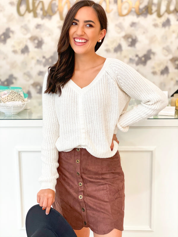 Suede Scallop Skirt