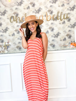 Summer Vibes Striped Maxi- Copper/Ivory