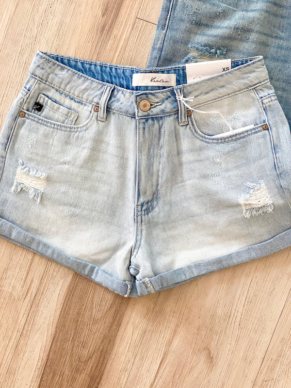 Distressed Double Fold Shorts - Light