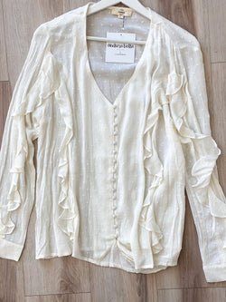 Swiss Ruffle Button Top - White