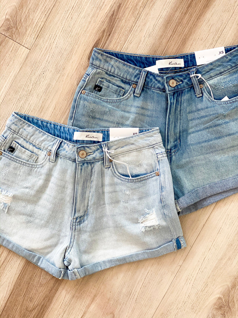 Distressed Double Fold Shorts - Medium