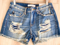 KC Distressed Boyfriend Shorts - Med