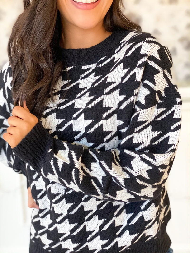 Hope Houndstooth Sweater - Black