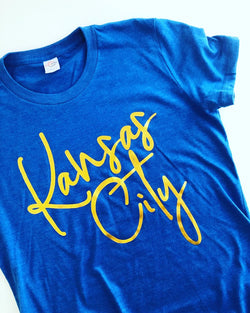 Metallic Gold & Blue KC Tee