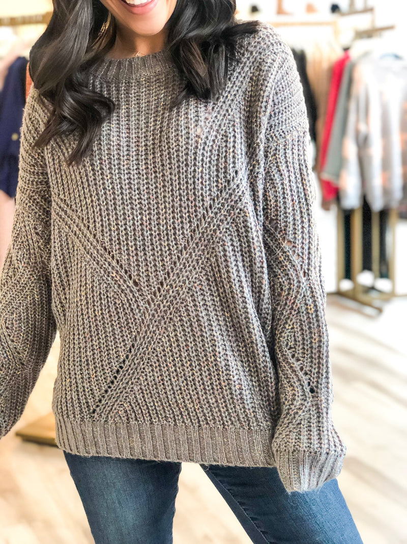 Marled Color Sweater - Grey