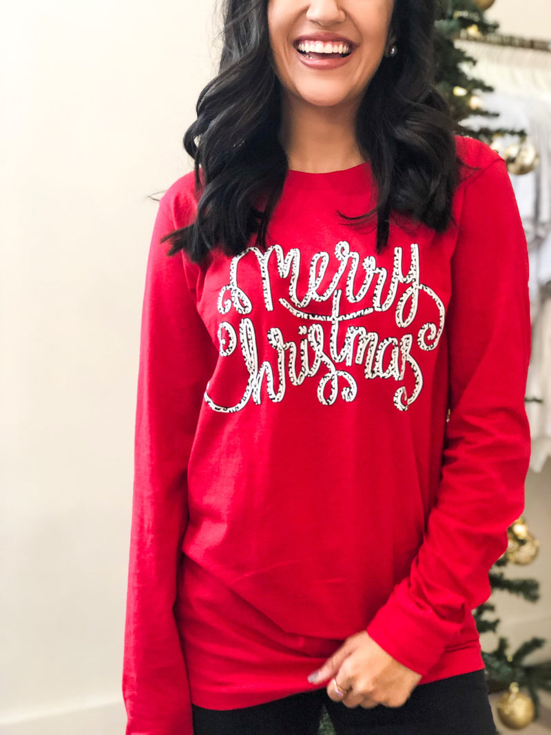 STS Merry Christmas Leopard Long Sleeve