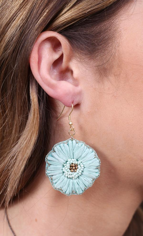 Mirren Bead & Raffia Flower Earring - Mint