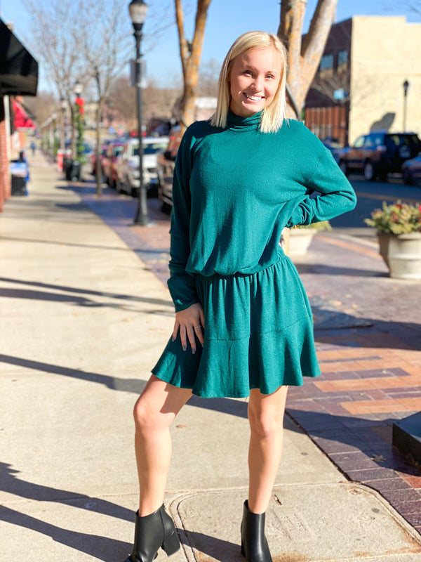 Mock Knit Dress - Hunter