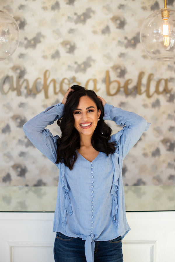 Swiss Ruffle Button Top - Blue