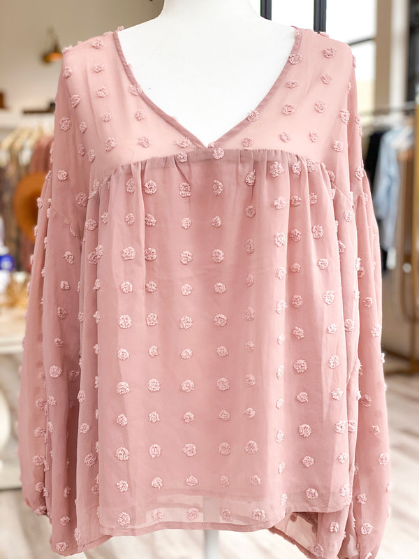 Dotted Swiss Top - Blush