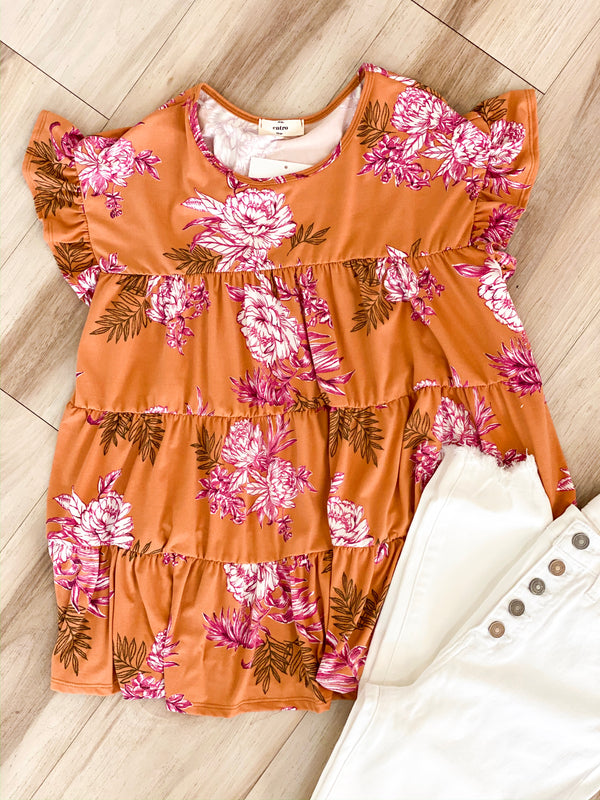 Terracotta Floral Top