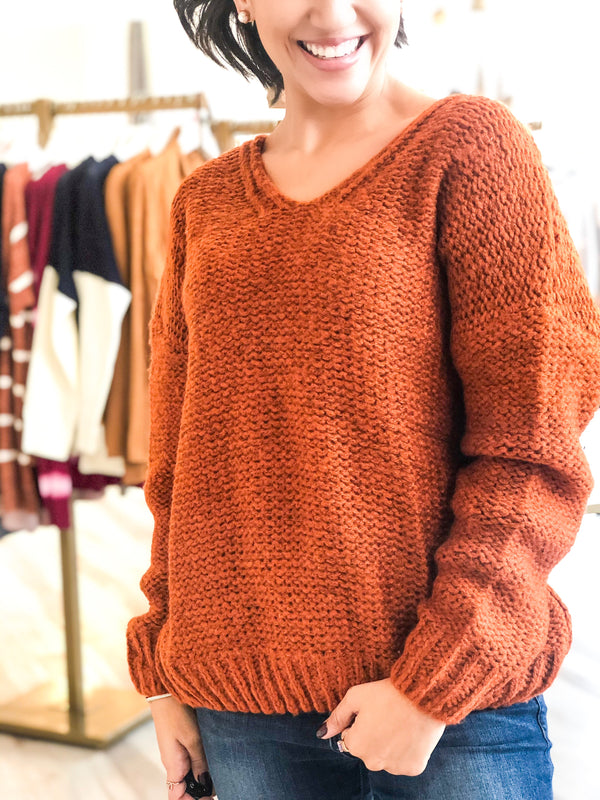 Twist Back Sweater - Rust