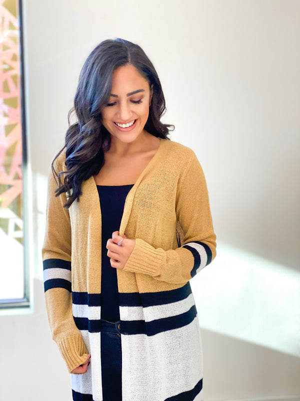 Varsity Stripe Cardigan - Tan