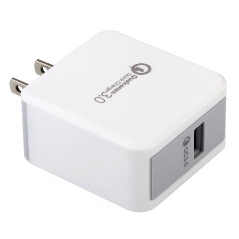 Afflux 18W Qualcomm 3.0 Quick Charge 1-Port USB Wall Charger Plug, White