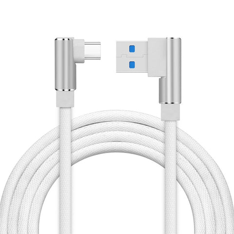 USB-C Type-C 90 Degree Right Angle Nylon Braided Fast Charging Data Sync Cable