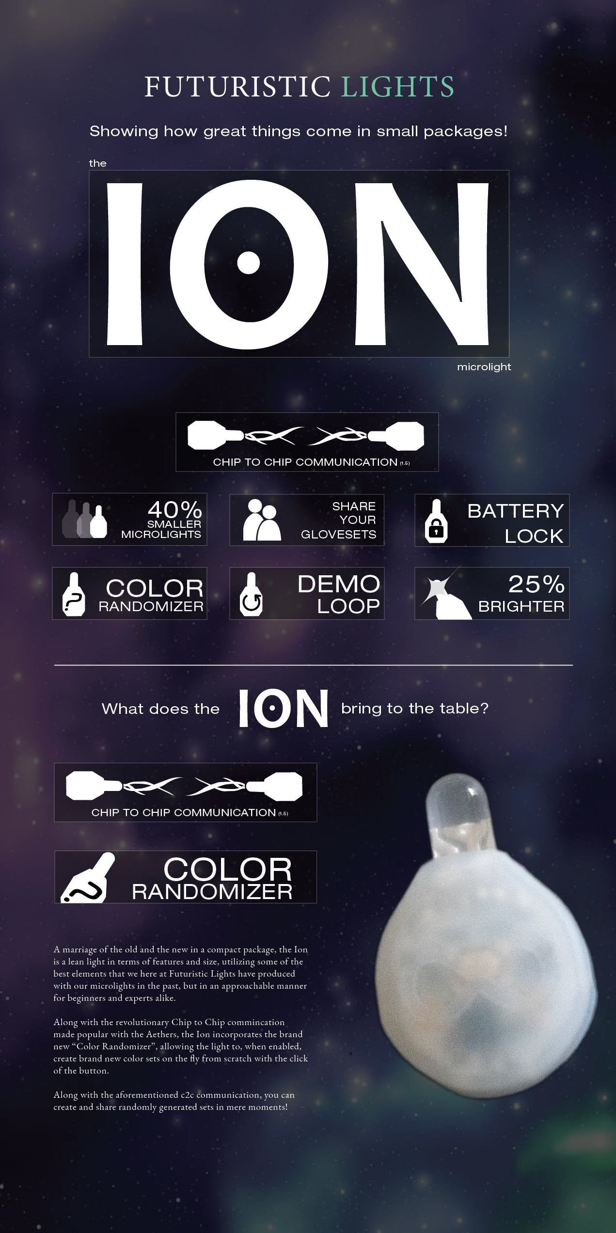 Ion C2C LED Light Gloves Overview Page 1